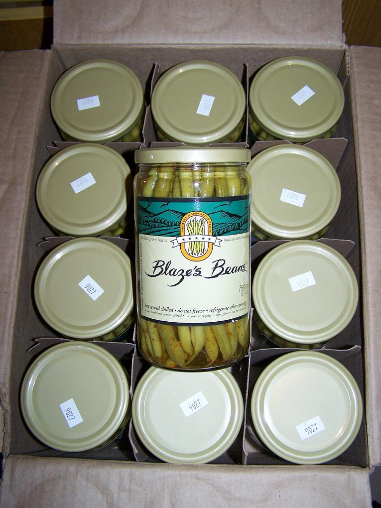 Blaze´s Beans Spicy Pickled Green Beans Box (12 Jar) 25 oz Jar