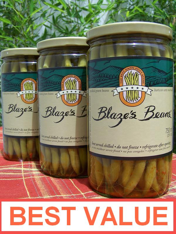 Blaze´s Beans Spicy Pickled Green Beans Box (3 Jar) 25 oz each